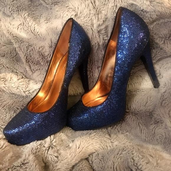 Blue BCBG Sparkle Parade Heels Size 7